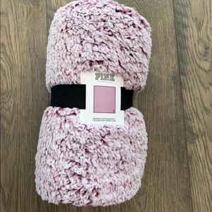 Victoria's Secret pink purple Sherpa blanket